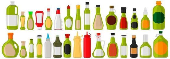 Illustration on theme big kit varied glass bottles filled thick sauce wasabi vector