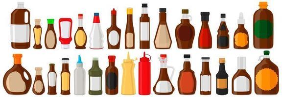 Illustration on theme big kit varied glass bottles filled liquid chocolate syrup vector