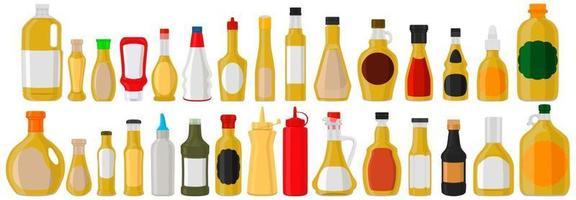 Illustration on theme big kit varied glass bottles filled liquid sauce curry vector