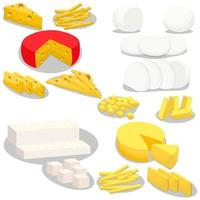 Illustration on theme big kit cheese dairy product, slices of different shapes vector