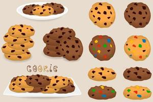 Illustration on theme big set different biscuit, kit colorful cookie vector