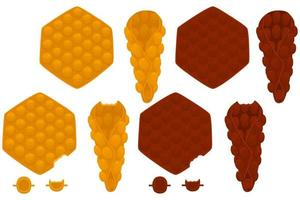 Illustration on theme big kit different types cone waffle with bubbles vector