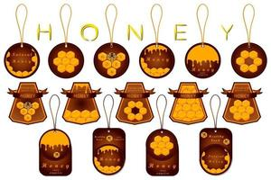 Illustration on theme for big set label of sugary flowing down honey in honeycomb vector