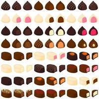 Illustration on theme beautiful big set sweet chocolate candy bonbon vector