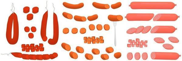 Illustration on theme big set different types delicatessen meat sausages vector