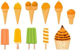 big kit ice cream popsicle different types in cone waffle cup vector