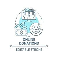 Online donations concept icon. Fundraising event abstract idea thin line illustration. Mobile, computer giving. Collect donations around world. Vector isolated outline color drawing. Editable stroke