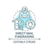 Direct mail fundraising concept icon. Charity event abstract idea thin line illustration. Building donor relations. Cross-channel communications. Vector isolated outline color drawing. Editable stroke