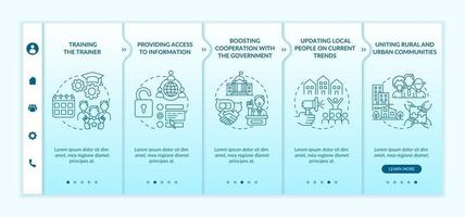 Social unit development steps onboarding vector template. Responsive mobile website with icons. Web page walkthrough 5 step screens. Cooperation with government color concept with linear illustrations