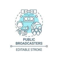 Public broadcasters fundraiser concept icon. Fundraising abstract idea thin line illustration. Increasing financial contributions. Pledge drive. Vector isolated outline color drawing. Editable stroke