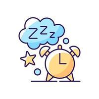 icono de color rgb de tiempo de sueño. despertador. reloj con esfera nocturna. cuenta regresiva para despertar por la mañana. descanso nocturno. ilustración vectorial aislada. rutina diaria simple dibujo lineal relleno vector