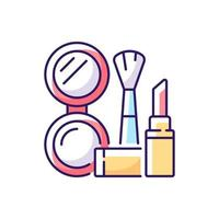 Makeup RGB color icon. Cosmetic products. Female skincare. Lipstick and powder set. Brush for women. Isolated vector illustration. Everyday routine and lifestyle simple filled line drawing