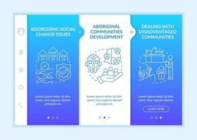 Social unit development targets onboarding vector template. Responsive mobile website with icons. Web page walkthrough 3 step screens. Aboriginal communities color concept with linear illustrations