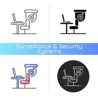 Workers productivity improvement with surveillance camera icon. Recording employee conversations. Digital activities monitoring. Linear black and RGB color styles. Isolated vector illustrations