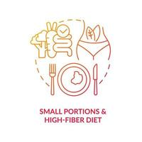 Small portions and high fiber diet concept icon. Eating in small devided portions. Healthy diet for diabetes abstract idea thin line illustration. Vector isolated outline color drawing