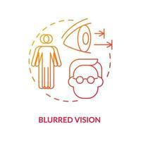 Blurred vision concept icon. Problems with eyes. Medical treatment. Curing eyesight issues. Seeing badly abstract idea thin line illustration. Vector isolated outline color drawing