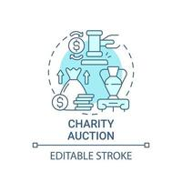 Charity auction concept icon. Fundraising event abstract idea thin line illustration. Selling rare experiential items. Bid on unique things. Vector isolated outline color drawing. Editable stroke
