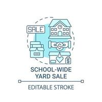 School-wide yard sale concept icon. Fundraising appeal abstract idea thin line illustration. Organizing rummage sale in open-air playground. Vector isolated outline color drawing. Editable stroke