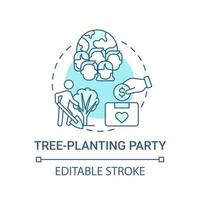 Tree-planting party fundraiser concept icon. Fundraising campaign abstract idea thin line illustration. Transplanting tree seedlings. Vector isolated outline color drawing. Editable stroke