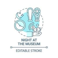 Night at museum fundraiser concept icon. Fundraising campaign abstract idea thin line illustration. Find new potential patrons. Cultural event. Vector isolated outline color drawing. Editable stroke