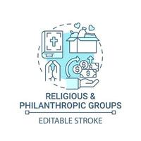 Religious and philanthropic groups concept icon. Fundraising abstract idea thin line illustration. Collecting money for public good. Extra funds. Vector isolated outline color drawing. Editable stroke