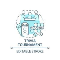 Trivia tournament fundraiser concept icon. Fundraising abstract idea thin line illustration. Testing participants knowledge in contest format. Vector isolated outline color drawing. Editable stroke
