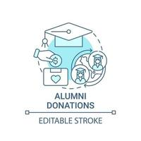 Alumni donations concept icon. Fundraising appeal abstract idea thin line illustration. Donating financial funds to academic institutions. Vector isolated outline color drawing. Editable stroke