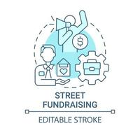 Street fundraising concept icon. Charity event abstract idea thin line illustration. Door-to-door fundraising. Face-to-face form. Vector isolated outline color drawing. Editable stroke