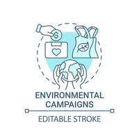 Environmental campaigns concept icon. Fundraising abstract idea thin line illustration. Eco-friendly fundraising. Climate change charity. Vector isolated outline color drawing. Editable stroke