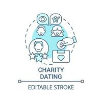 Charity dating concept icon. Fundraising kind abstract idea thin line illustration. Helping charitable causes. Participating in auction. Vector isolated outline color drawing. Editable stroke