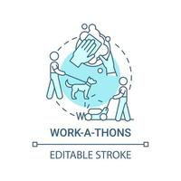 Work-a-thons fundraiser concept icon. Fundraising appeal abstract idea thin line illustration. Community event. Working in church. Clean-a-thon. Vector isolated outline color drawing. Editable stroke