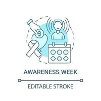 Awareness week fundraiser concept icon. Fundraising campaign abstract idea thin line illustration. Saving lives through donation gift. Vector isolated outline color drawing. Editable stroke