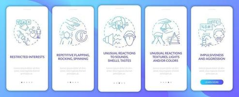 ASD diagnosis onboarding mobile app page screen. Repetitive flapping, spinning walkthrough 5 steps graphic instructions with concepts. UI, UX, GUI vector template with linear color illustrations