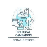 Political campaigns fundraiser concept icon. Fundraising abstract idea thin line illustration. Special interest group donation. Election finance. Vector isolated outline color drawing. Editable stroke