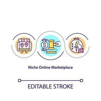 Niche online marketplace concept icon. Creating marketplace for selling items remotely. Online shops abstract idea thin line illustration. Vector isolated outline color drawing. Editable stroke