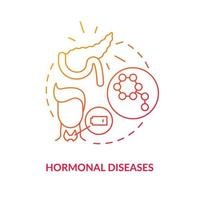 Hormonal diseases concept icon. Problems in human body. Medicaments for people treatment. Medical curing abstract idea thin line illustration. Vector isolated outline color drawing