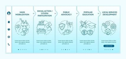 Social unit change strategies onboarding vector template. Responsive mobile website with icons. Web page walkthrough 5 step screens. Citizen participation color concept with linear illustrations