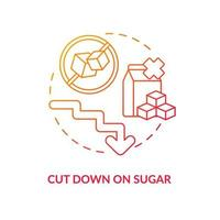 Cut down on sugar concept icon. Decrease amoun of sugar during day. Health problems treatment. Not eating sweets abstract idea thin line illustration. Vector isolated outline color drawing