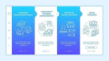 Social unit development advantages onboarding vector template. Responsive mobile website with icons. Web page walkthrough 4 step screens. Social cohesion color concept with linear illustrations