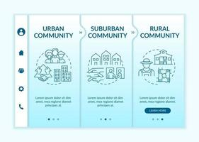 Social units types onboarding vector template. Responsive mobile website with icons. Web page walkthrough 3 step screens. Rural, peri-urban communities color concept with linear illustrations