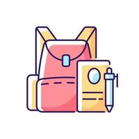 Backpack RGB color icon. Preparing for school classes. Schoolbag with notebook for student. Rucksack with college items. Isolated vector illustration. Everyday routine simple filled line drawing