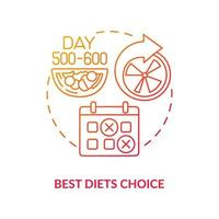 Best diets choice concept icon. Choosing food allowed during illness. Healthy meals preparing. Nutrion products abstract idea thin line illustration. Vector isolated outline color drawing