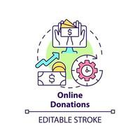 Online donations concept icon. Fundraising event abstract idea thin line illustration. Raise money via internet. Collect donations around world. Vector isolated outline color drawing. Editable stroke