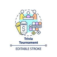 Trivia tournament fundraiser concept icon. Fundraising appeal abstract idea thin line illustration. Generating income for charities. Pub quizzes. Vector isolated outline color drawing. Editable stroke