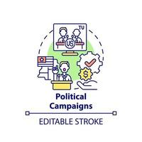 Political campaigns fundraiser concept icon. Fundraising type abstract idea thin line illustration. Financial contribution from multiple sources. Vector isolated outline color drawing. Editable stroke