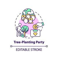 Tree-planting party fundraiser concept icon. Fundraising campaign abstract idea thin line illustration. Raising money and ecological conscience. Vector isolated outline color drawing. Editable stroke