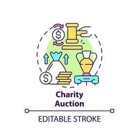Charity auction concept icon. Fundraising event abstract idea thin line illustration. Raising financial funds for charities. Competing bidders. Vector isolated outline color drawing. Editable stroke