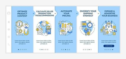 Online market place success onboarding vector template. Responsive mobile website with icons. Web page walkthrough 5 step screens. Calculating fees, commissions color concept with linear illustrations