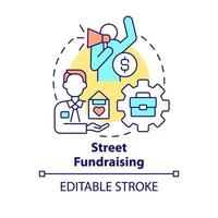 Street fundraising concept icon. Charity event abstract idea thin line illustration. Asking for donations. Interaction with potential donors. Vector isolated outline color drawing. Editable stroke