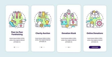 Fundraising events ideas onboarding mobile app page screen. Charity auction walkthrough 4 steps graphic instructions with concepts. UI, UX, GUI vector template with linear color illustrations